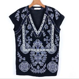 Tory Burch Embroidered V Neck Top